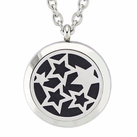 Stars Essential Oil Diffuser Locket Necklace with 5 Easy-Switch Oil Pads