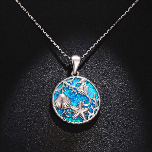 Aquastone™ -  Fire Opal Under The Sea Necklace