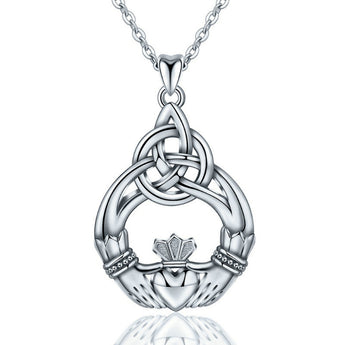 Asthōre™ Claddagh Celtic Knot Sterling Silver Necklace