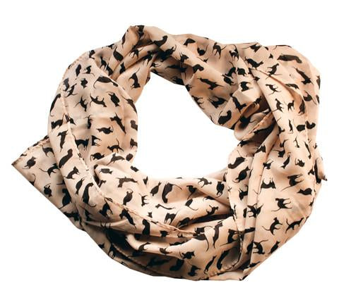 Cat Lover Silhouette Chiffon Scarf