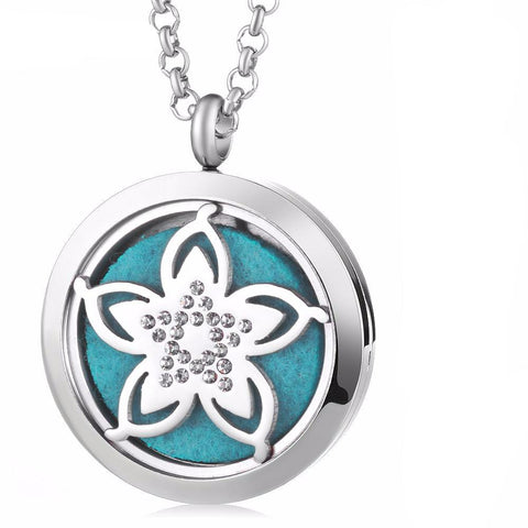 Cherry Blossom Essential Oil Diffuser Locket with 5 Easy-Switch Oil Pads