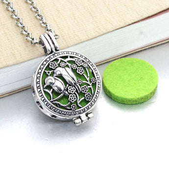 Vintage Love Birds Essential Oil Diffuser Locket Necklace with 1 Easy-Switch Oil Pad