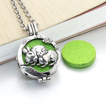 Vintage Mommy Rabbit Essential Oil Diffuser Locket Necklace with 1 Easy-Switch Oil Pad