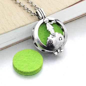 Vintage Little Prince Essential Oil Diffuser Locket Necklace with 1 Easy-Switch Oil Pad