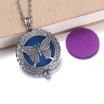 Vintage Butterfly Essential Oil Diffuser Locket Necklace with 1 Easy-Switch Oil Pad