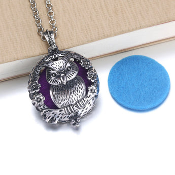 Vintage Garden Owl Essential Oil Diffuser Locket Necklace with 1 Easy-Switch Oil Pad