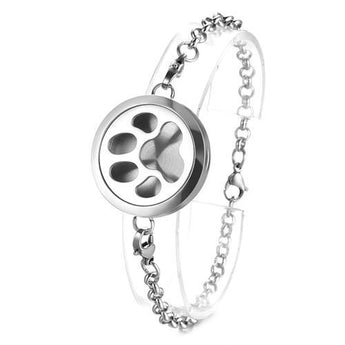 Paw Print Essential Oil Diffuser Bracelet with 5 Easy-Switch Oil Pads