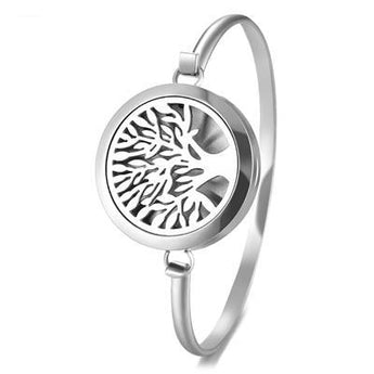 Tree of Life Essential Oil Diffuser Bangle with 5 Easy-Switch Oil Pads
