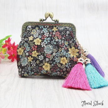 Vintage Floral Tasseled Coin Purse