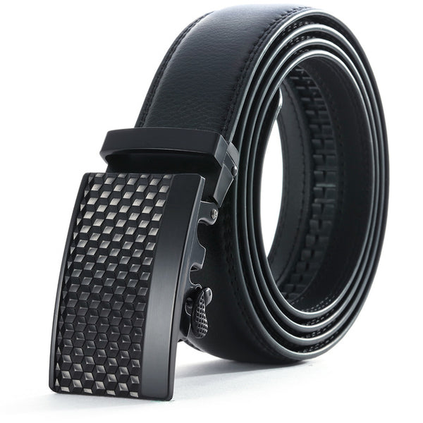 Geometric Leather Stainless Steel Belt