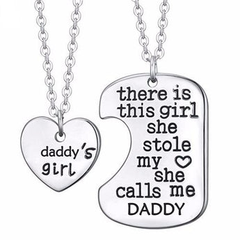 Daddy's Girl Pendant Necklace and Dog Tag 2pc Set