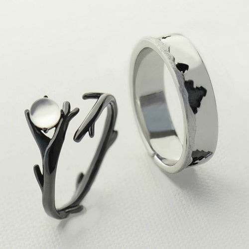 Celticá™ - Moonlight Forest His and Hers Resizable Sterling Silver Couple Ring