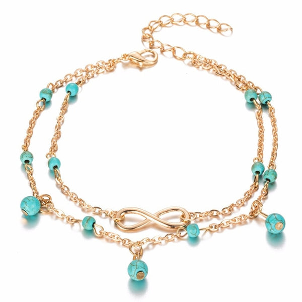 Barefoot Boho™ _ Chic Beaded Infinity  Two-Layered Anklet