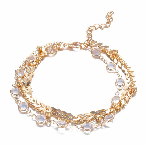 Barefoot Boho™ _ Chic Crystal Sequins  Two-Layered Anklet