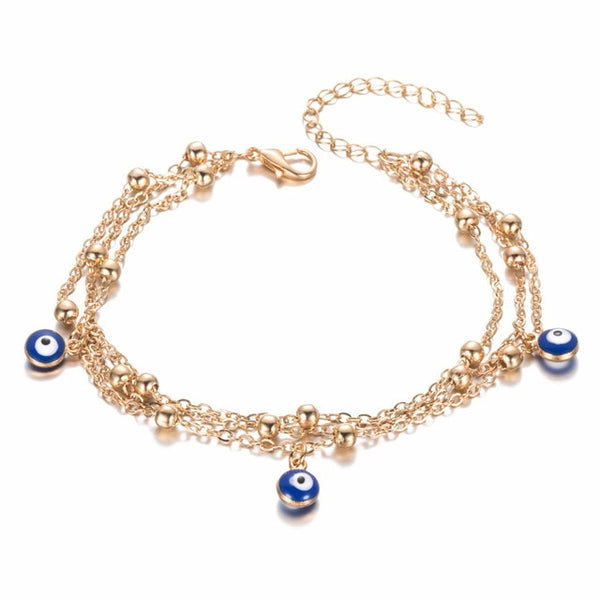 Barefoot Boho™ _ Chic Eye Beads  Two-Layered Anklet