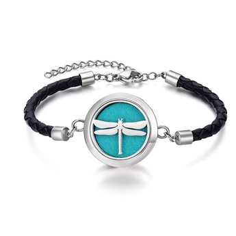 Dragonfly Essential Oil Diffuser Braided Authentic Leather Bracelet with 5 Easy-Switch Oil Pads