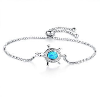 Aquastone™ - Blue Fire Opal Sea Turtle Bracelet