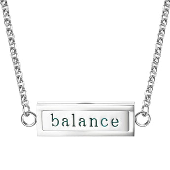 """Balance"" Essential Oil Diffuser Mantra Locket Necklace With 5 Easy-Switch Oil Pads"