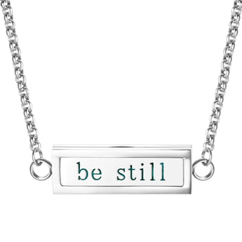 """Be Still"" Essential Oil Diffuser Mantra Locket Necklace With 5 Easy-Switch Oil Pads"