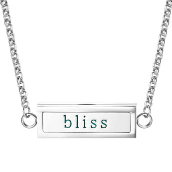 """Bliss"" Essential Oil Diffuser Mantra Locket Necklace With 5 Easy-Switch Oil Pads"