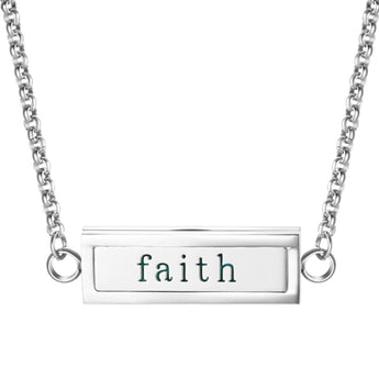"""Faith"" Essential Oil Diffuser Mantra Locket Necklace With 5 Easy-Switch Oil Pads"