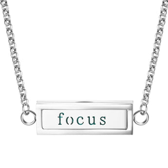 """Focus"" Essential Oil Diffuser Mantra Locket Necklace With 5 Easy-Switch Oil Pads"
