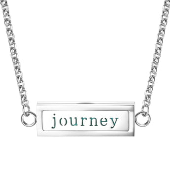 """Journey"" Essential Oil Diffuser Mantra Locket Necklace With 5 Easy-Switch Oil Pads"