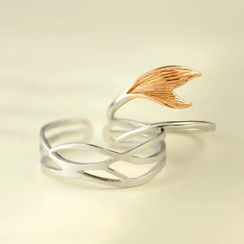 Celticá™ - Mermaid Catch His and Hers Resizable Sterling Silver Couple Ring
