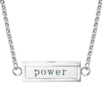 """Power"" Essential Oil Diffuser Mantra Locket Necklace With 5 Easy-Switch Oil Pads"