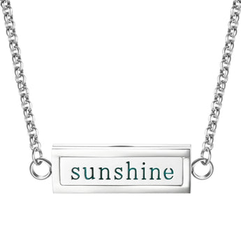 """Sunshine"" Essential Oil Diffuser Mantra Locket Necklace With 5 Easy-Switch Oil Pads"