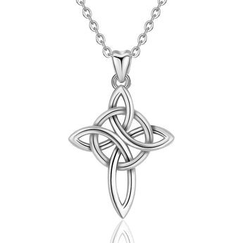 Asthore™ Celtic Knot Cross Sterling Silver Necklace