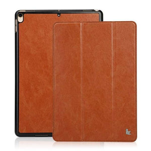 Fab-Case  Apple iPad Case Brown Jisoncase PU Vegan Leather Smart Cover Auto Wake Tablet Cases for Apple iPad Pro 2017 10.5 inch