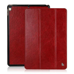 Fab-Case  Apple iPad Case Dark Red Jisoncase PU Vegan Leather Smart Cover Auto Wake Tablet Cases for Apple iPad Pro 2017 10.5 inch