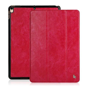Fab-Case  Apple iPad Case Rose Red Jisoncase PU Vegan Leather Smart Cover Auto Wake Tablet Cases for Apple iPad Pro 2017 10.5 inch