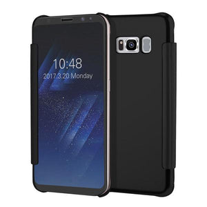 Fab-Case  Black / For S6 Clear View Flip Slim PC Electroplating Mirror Phone Cases For Samsung Galaxy S8 S7 S6 Edge Plus