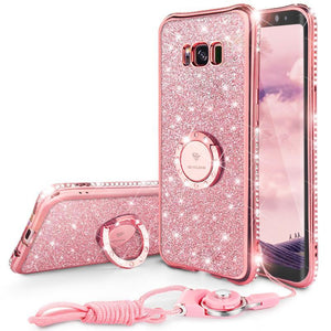Fab-Case  Bling Diamond Case for Samsung Galaxy S8 and S8 Plus Cover Ring Strap Glitter