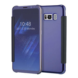 Fab-Case  Blue Purple / For S6 Clear View Flip Slim PC Electroplating Mirror Phone Cases For Samsung Galaxy S8 S7 S6 Edge Plus
