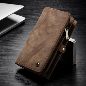 Fab-Case  Coffee / For iPhone 8 CaseMe Genuine Leather Zipper Multi Function Wallet Case for iPhone 8