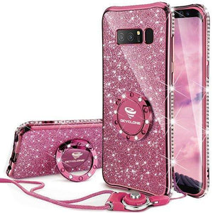 Fab-Case.Com Phone Case for Samsung Galaxy note 8 Deep Purple Glitter Diamond Luxury Bling Case for Samsung Galaxy Note 8