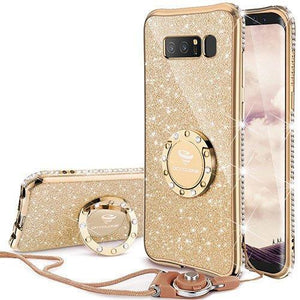 Fab-Case.Com Phone Case for Samsung Galaxy note 8 Gold Glitter Diamond Luxury Bling Case for Samsung Galaxy Note 8