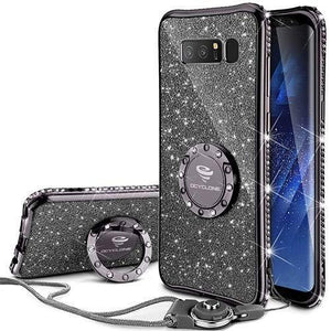 Fab-Case.Com Phone Case for Samsung Galaxy note 8 Mauve Black Glitter Diamond Luxury Bling Case for Samsung Galaxy Note 8