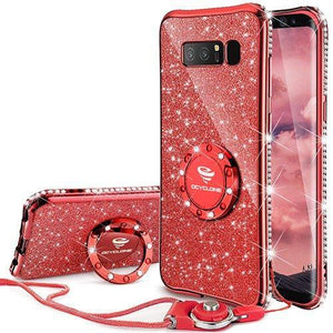 Fab-Case.Com Phone Case for Samsung Galaxy note 8 Red Glitter Diamond Luxury Bling Case for Samsung Galaxy Note 8