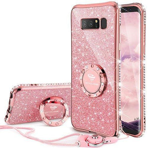 Fab-Case.Com Phone Case for Samsung Galaxy note 8 Rose Gold Glitter Diamond Luxury Bling Case for Samsung Galaxy Note 8