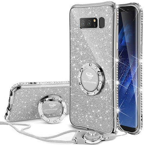 Fab-Case.Com Phone Case for Samsung Galaxy note 8 Silver Glitter Diamond Luxury Bling Case for Samsung Galaxy Note 8