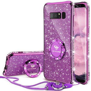 Fab-Case.Com Phone Case for Samsung Galaxy note 8 Violet Purple Glitter Diamond Luxury Bling Case for Samsung Galaxy Note 8