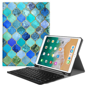 Fab-Case  Finitie ZA-Cool Jade Fintie iPad Pro 10.5 Keyboard Case with Built-in Apple Pencil Holder - SlimShell Protective