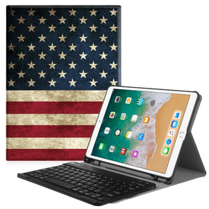 Fab-Case  Finitie ZA-US Flag Fintie iPad Pro 10.5 Keyboard Case with Built-in Apple Pencil Holder - SlimShell Protective