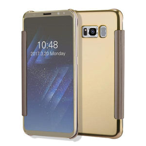 Fab-Case  Gold / For S6 Clear View Flip Slim PC Electroplating Mirror Phone Cases For Samsung Galaxy S8 S7 S6 Edge Plus