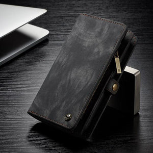 Fab-Case  Gray / For iPhone 8 CaseMe Genuine Leather Zipper Multi Function Wallet Case for iPhone 8