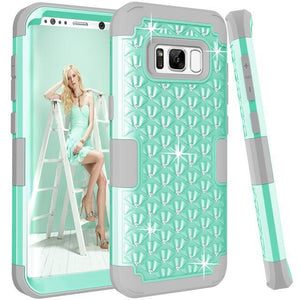 Fab-Case  Mint Grey / For Galaxy S8 For Samsung Galaxy S8/S8 Plus Shockproof Diamond Studded with Dual Layer Impact Protection